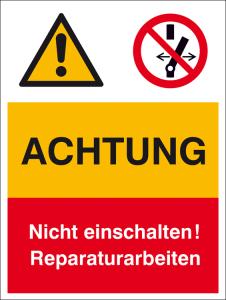 Kombischild mit Warnzeichen und Verbotszeichen, ACHTUNG Nicht einschalten! ... (Ausführung: Kombischild mit Warnzeichen und Verbotszeichen, ACHTUNG Nicht einschalten! ... (Art.Nr.: 43.a8005))