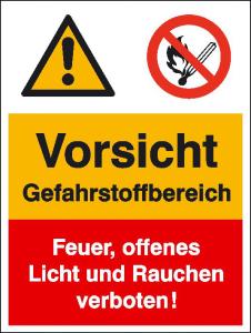 Kombischild mit Warnzeichen und Verbotszeichen, Vorsicht Gefahrstoffbereich ... (Ausführung: Kombischild mit Warnzeichen und Verbotszeichen, Vorsicht Gefahrstoffbereich ... (Art.Nr.: 43.0513))