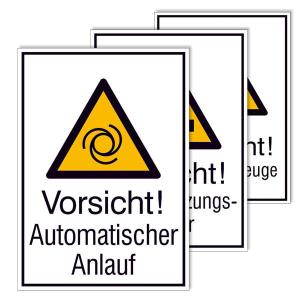 Kombischild mit Warnzeichen und Zusatztext -Protect-, Standard Warnzeichen mit Text (Modell: Vorsicht! Automatischer Anlauf (Art.Nr.: 39.0042-01))