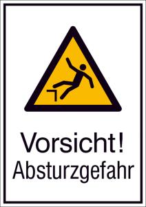 Kombischild mit Warnzeichen und Zusatztext, Vorsicht! Absturzgefahr (Maße (BxH)/Material: 131 x 185 mm / Alu, hart 0,56-1,0 mm (Art.Nr.: 51.a8030))