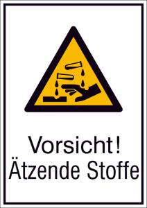 Kombischild mit Warnzeichen und Zusatztext, Vorsicht! Ätzende Stoffe (Maße (BxH)/Material: 131 x 185 mm / Alu hart 0,56-1,00 mm<br>geprägt (Art.Nr.: 51.a8125))
