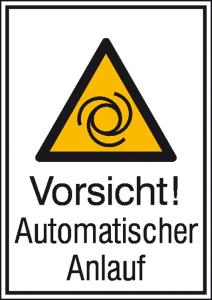 Kombischild mit Warnzeichen und Zusatztext, Vorsicht! Automatischer Anlauf (Maße (BxH)/Material: 131 x 185 mm / Alu, geprägt (Art.Nr.: 11.0455))