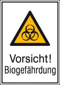 Kombischild mit Warnzeichen und Zusatztext, Vorsicht! Biogefährdung (Maße (BxH)/Material: 131 x 185 mm / Alu, hart 0,56-1,0 mm (Art.Nr.: 51.0434))