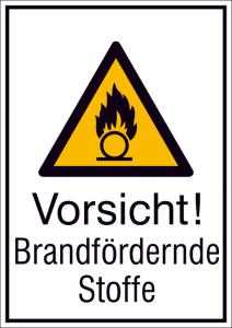 Kombischild mit Warnzeichen und Zusatztext, Vorsicht! Brandfördernde Stoffe (Ausführung: Kombischild mit Warnzeichen und Zusatztext, Vorsicht! Brandfördernde Stoffe (Art.Nr.: 21.a8060))