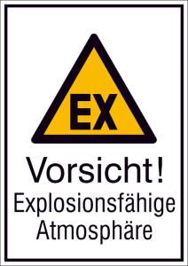 Kombischild mit Warnzeichen und Zusatztext, Vorsicht! Explosionsfähige Atmosphäre (Maße (BxH)/Material: 131 x 185 mm / Folie, selbstklebend (Art.Nr.: 21.a8010))