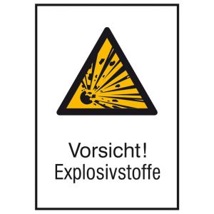 Kombischild mit Warnzeichen und Zusatztext, Vorsicht! Explosivstoffe (Ausführung: Kombischild mit Warnzeichen und Zusatztext, Vorsicht! Explosivstoffe (Art.Nr.: 21.0402))