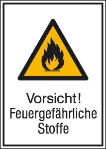 Kombischild mit Warnzeichen und Zusatztext, Vorsicht! Feuergefährliche Stoffe (Maße (BxH)/Material: 131 x 185 mm / Alu, geprägt (Art.Nr.: 11.0400))
