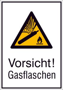 Kombischild mit Warnzeichen und Zusatztext, Vorsicht! Gasflaschen (Maße (BxH)/Material: 131 x 185 mm / Alu, hart 0,56-1,0 mm (Art.Nr.: 51.a8015))
