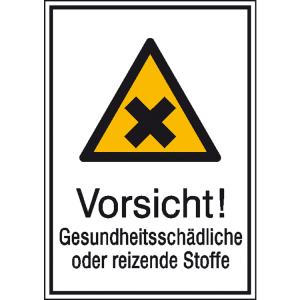 Kombischild mit Warnzeichen und Zusatztext, Vorsicht! Gesundheitsschädliche oder reizende Stoffe (Ausführung: Kombischild mit Warnzeichen und Zusatztext, Vorsicht! Gesundheitsschädliche oder reizende Stoffe (Art.Nr.: 21.0436))