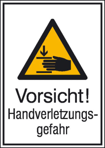 Kombischild mit Warnzeichen und Zusatztext, Vorsicht! Handverletzungsgefahr (Material: Aluminium, hart (Art.Nr.: 51.0764))