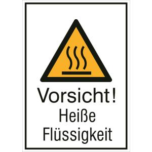 Kombischild mit Warnzeichen und Zusatztext, Vorsicht! Heiße Flüssigkeit (Maße (BxH)/Material: 131 x 185 mm / Alu, geprägt (Art.Nr.: 11.0442))