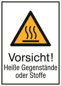 Kombischild mit Warnzeichen und Zusatztext, Vorsicht! Heiße Gegenstände oder Stoffe (Maße (BxH)/Material: 131 x 185 mm / Alu, geprägt (Art.Nr.: 11.0440))