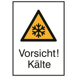 Kombischild mit Warnzeichen und Zusatztext, Vorsicht! Kälte (Ausführung: Kombischild mit Warnzeichen und Zusatztext, Vorsicht! Kälte (Art.Nr.: 21.0447))