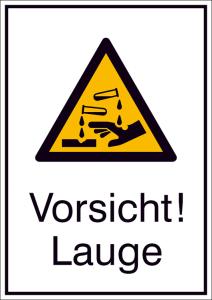 Kombischild mit Warnzeichen und Zusatztext, Vorsicht! Lauge (Ausführung: Kombischild mit Warnzeichen und Zusatztext, Vorsicht! Lauge (Art.Nr.: 21.a8140))