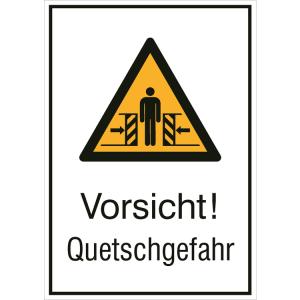 Kombischild mit Warnzeichen und Zusatztext, Vorsicht! Quetschgefahr (Maße (BxH)/Material: 131 x 185 mm / Folie, selbstklebend (Art.Nr.: 21.0449))