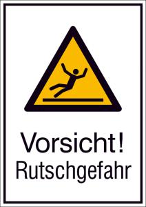 Kombischild mit Warnzeichen und Zusatztext, Vorsicht! Rutschgefahr (Maße (BxH)/Material: 131 x 185 mm / Alu, hart 0,56-1,0 mm (Art.Nr.: 51.a8020))