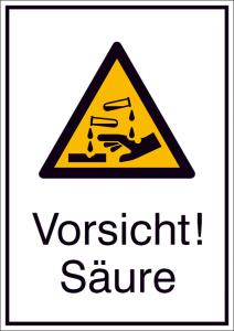 Kombischild mit Warnzeichen und Zusatztext, Vorsicht! Säure (Maße (BxH)/Material: 131 x 185mm / Alu (Art.Nr.: 51.a8130))