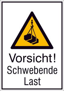Kombischild mit Warnzeichen und Zusatztext, Vorsicht! Schwebende Last (Maße (BxH)/Material: 131 x 185 mm / Alu, hart 0,56-1,0 mm (Art.Nr.: 51.a8045))