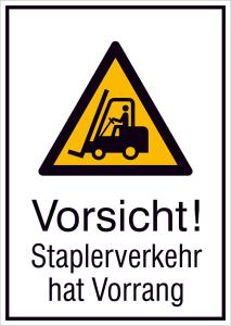 Kombischild mit Warnzeichen und Zusatztext, Vorsicht! Staplerverkehr hat Vorrang (Maße (BxH) / Material: 131 x 185mm / Folie, selbstklebend (Art.Nr.: 21.a8055))