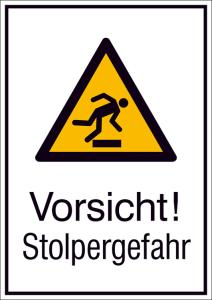 Kombischild mit Warnzeichen und Zusatztext, Vorsicht! Stolpergefahr (Maße (BxH)/Material: 131 x 185 mm / Alu, geprägt<br>mit Einbrennlackierung (Art.Nr.: 51.a8025))