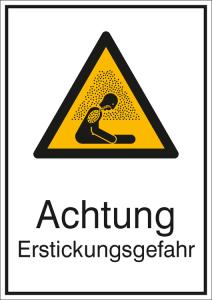 Kombischild mit Warnzeichen und Zusatztext, Warnung vor Erstickungsgefahr (Ausführung: Kombischild mit Warnzeichen und Zusatztext, Warnung vor Erstickungsgefahr (Art.Nr.: 21.a8335))