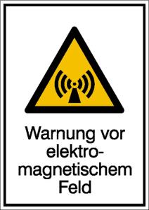 Kombischild mit Warnzeichen und Zusatztext, Warnung vor elektromagnetischem Feld (Ausführung: Kombischild mit Warnzeichen und Zusatztext, Warnung vor elektromagnetischem Feld (Art.Nr.: 11.0248))