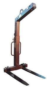 Kran- und Ladegabel mit automatischem Gewichtsausgleich, Tragkraft 1500 oder 2000 kg (Tragkraft/Zinkenverstellbarkeit/Zinkenquerschnitt/Gesamthöhe/Gewicht:  <b>1500kg</b>/350-900mm/100mm<br>1600-2300mm/150kg/ <b>lackiert <b> (Art.Nr.: 50k15))