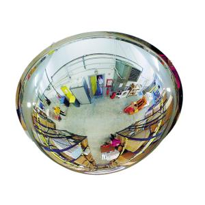 Kugelspiegel Volum aus Plexiglas (PMMA), 1 / 2 Kugel, 4 Blickrichtungen (Durchmesser/max. Beobachtungsabstand/Gewicht: Ø 450 mm / 9 m / 3 kg (Art.Nr.: 36374))