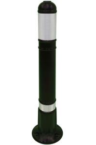 Kunststoffstilpoller -Vienna- aus Polyethylen, 800 mm, schwarz mit retroreflektierendem Streifen (Ausführung: Kunststoffstilpoller -Vienna- aus Polyethylen, 800 mm, schwarz mit retroreflektierendem Streifen (Art.Nr.: 34172))