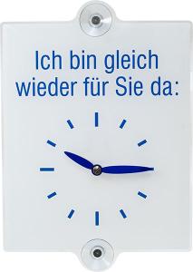 Ladentürschild, mit manuell einstellbarer Uhranzeige (Ausführung: Ich bin gleich wieder für Sie da: (Art.Nr.: 46.5870))