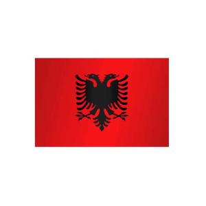 Länderflagge Albanien, Stoffqualität FlagTop 110 g / m² oder 160 g / m² (Maße (LxB)/Format/Konfektionierung/Stoffqualität:  <b>60 x 90 cm</b> (Querformat)<br>mit Seil und Schlaufe<br>FlagTop  <b>110 g/m²</b><br>für F