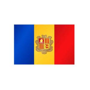 Länderflagge Andorra, Stoffqualität FlagTop 110 g / m² oder 160 g / m² (Maße (LxB)/Format/Konfektionierung/Stoffqualität:  <b>60 x 90 cm</b> (Querformat)<br>mit Seil und Schlaufe<br>FlagTop  <b>110 g/m²</b><br>für Fa