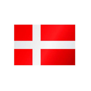 Länderflagge Dänemark, Stoffqualität FlagTop 110 g / m² oder 160 g / m² (Maße (LxB)/Format/Konfektionierung/Stoffqualität:  <b>60 x 90 cm</b> (Querformat)<br>mit Seil und Schlaufe<br>FlagTop  <b>110 g/m²</b><br>f&uum