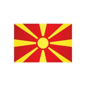 Länderflagge Mazedonien, Stoffqualität FlagTop 110 g / m² oder 160 g / m² (Maße (LxB)/Format/Konfektionierung/Stoffqualität:  <b>60 x 90 cm</b> (Querformat)<br>mit Seil und Schlaufe<br>FlagTop  <b>110 g/m²</b><br>für
