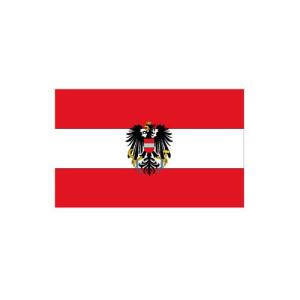 Länderflagge Österreich, Stoffqualität FlagTop 110 g / m² oder 160 g / m² (Maße (LxB)/Format/Konfektionierung/Stoffqualität:  <b>60 x 90 cm</b> (Querformat)<br>mit Seil und Schlaufe<br>FlagTop  <b>110 g/m²</b><br>f&u