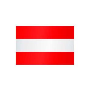 Länderflagge Österreich (ohne Wappen), Stoffqualität FlagTop 110 g / m² oder 160 g / m² (Maße (LxB)/Format/Konfektionierung/Stoffqualität:  <b>60 x 90 cm</b> (Querformat)<br>mit Seil und Schlaufe<br>FlagTop  <b>110 g/m&su