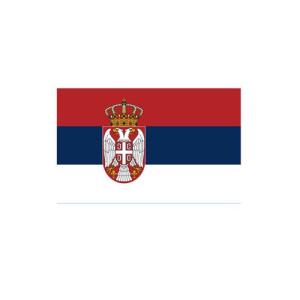 Länderflagge Serbien, Stoffqualität FlagTop 110 g / m² oder 160 g / m² (Maße (LxB)/Format/Konfektionierung/Stoffqualität:  <b>60 x 90 cm</b> (Querformat)<br>mit Seil und Schlaufe<br>FlagTop  <b>110 g/m²</b><br>für Fa