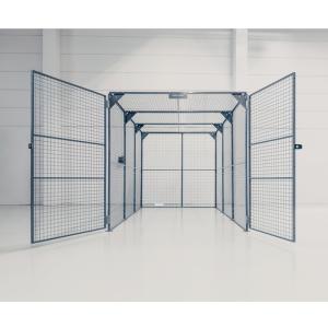 Lagerbox -Cage- aus Stahl, Höhe 2200 mm, verzinkt oder beschichtet, mit Doppelflügeltür