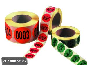 Lageretiketten, fortlaufend nummeriert, Ziffern 1 bis 1000, 1000 Stück auf Rolle (Farbe: weiß (Art.Nr.: 32.3538-01))