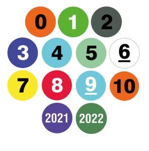 Lageretiketten, nummeriert, 500 Stück auf Rolle (Beschriftung/Farbe: 2023 / blau  (Art.Nr.: 32.3520-23))