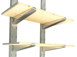Lagerregale zum Einhängen, Tragfähigkeit 120 kg, komplett mit Kragarmen, Regalsäulen und -böden (Modell/Lieferumfang:  <b>L 1000</b><br>3x Regalboden 1000x500mm<br>6x Kragarm, 2x Regalsäule (Art.Nr.: 31957))