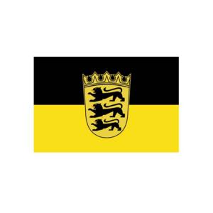 Landesflagge Baden-Württemberg, Stoffqualität FlagTop 110 g / m² oder 160 g / m² (Maße (LxB)/Format/Konfektionierung/Stoffqualität:  <b>60 x 90 cm</b> (Querformat)<br>mit Seil und Schlaufe<br>FlagTop  <b>110 g/m²</b><br>f