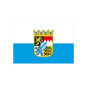 Landesflagge Bayern (weiß / blau mit Wappen), Stoffqualität FlagTop 110 g / m² oder 160 g / m² (Maße (LxB)/Format/Konfektionierung/Stoffqualität:  <b>60 x 90 cm</b> (Querformat)<br>mit Seil und Schlaufe<br>FlagTop  <b>110 g/m