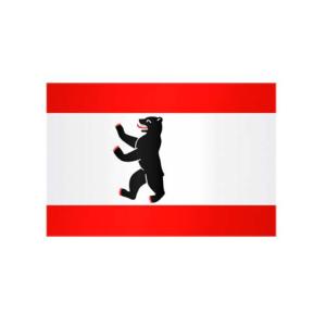 Landesflagge Berlin, Stoffqualität FlagTop 110 g / m² oder 160 g / m² (Maße (LxB)/Format/Konfektionierung/Stoffqualität:  <b>60 x 90 cm</b> (Querformat)<br>mit Seil und Schlaufe<br>FlagTop  <b>110 g/m²</b><br>für Fahnenma