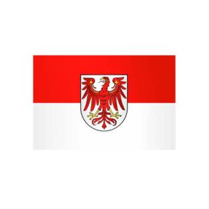Landesflagge Brandenburg, Stoffqualität FlagTop 110 g / m² oder 160 g / m² (Maße (LxB)/Format/Konfektionierung/Stoffqualität:  <b>60 x 90 cm</b> (Querformat)<br>mit Seil und Schlaufe<br>FlagTop  <b>110 g/m²</b><br>für Fah