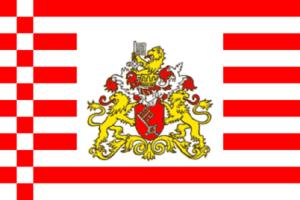 Landesflagge Bremen (Senat), Stoffqualität FlagTop 110 g / m² oder 160 g / m² (Maße (LxB)/Format/Konfektionierung/Stoffqualität:  <b>60 x 90 cm</b> (Querformat)<br>mit Seil und Schlaufe<br>FlagTop  <b>110 g/m²</b><br>für