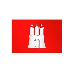 Landesflagge Hamburg, Stoffqualität FlagTop 110 g / m² oder 160 g / m² (Maße (LxB)/Format/Konfektionierung/Stoffqualität:  <b>60 x 90 cm</b> (Querformat)<br>mit Seil und Schlaufe<br>FlagTop  <b>110 g/m²</b><br>für Fahnenm