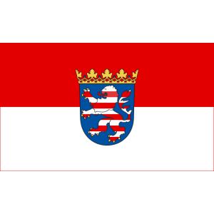 Landesflagge Hessen, Stoffqualität FlagTop 110 g / m² oder 160 g / m² (Maße (LxB)/Format/Konfektionierung/Stoffqualität:  <b>60 x 90 cm</b> (Querformat)<br>mit Seil und Schlaufe<br>FlagTop  <b>110 g/m²</b><br>für Fahnenma