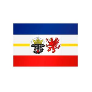Landesflagge Mecklenburg Vorpommern, Stoffqualität FlagTop 110 g / m² oder 160 g / m² (Maße (LxB)/Format/Konfektionierung/Stoffqualität:  <b>60 x 90 cm</b> (Querformat)<br>mit Seil und Schlaufe<br>FlagTop  <b>110 g/m²</b><br>f