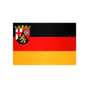 Landesflagge Rheinland-Pfalz , Stoffqualität FlagTop 110 g / m² oder 160 g / m² (Maße (LxB)/Format/Konfektionierung/Stoffqualität:  <b>60 x 90 cm</b> (Querformat)<br>mit Seil und Schlaufe<br>FlagTop  <b>110 g/m²</b><br>fü